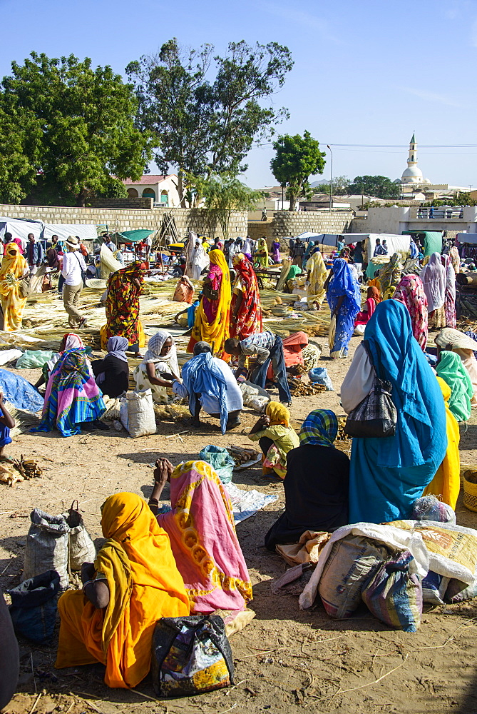 Women selling their goods on the colourful Monday market of Keren, Eritrea, Africa