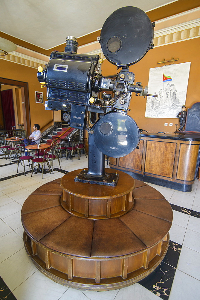 Old film projector, Italian cinema Roma, Asmara, capital of Eritrea, Africa