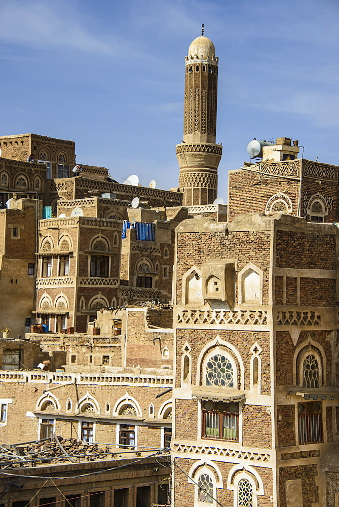 Traditional old houses in the Old Town, UNESCO World Heritage Site, Sanaa, Yemen, Middle East