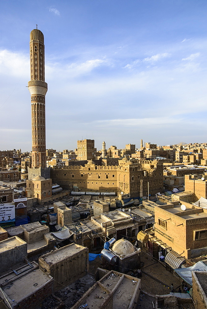 View at sunset over the Old Town, UNESCO World Heritage Site, Sanaa, Yemen, Middle East