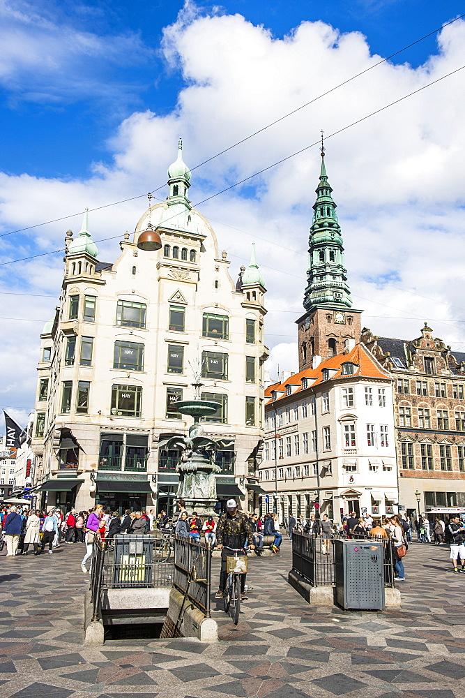 Amagertorv (Amager Square), part of the Stroget pedestrian zone, Copernhagen, Denmark, Scandinavia, Europe