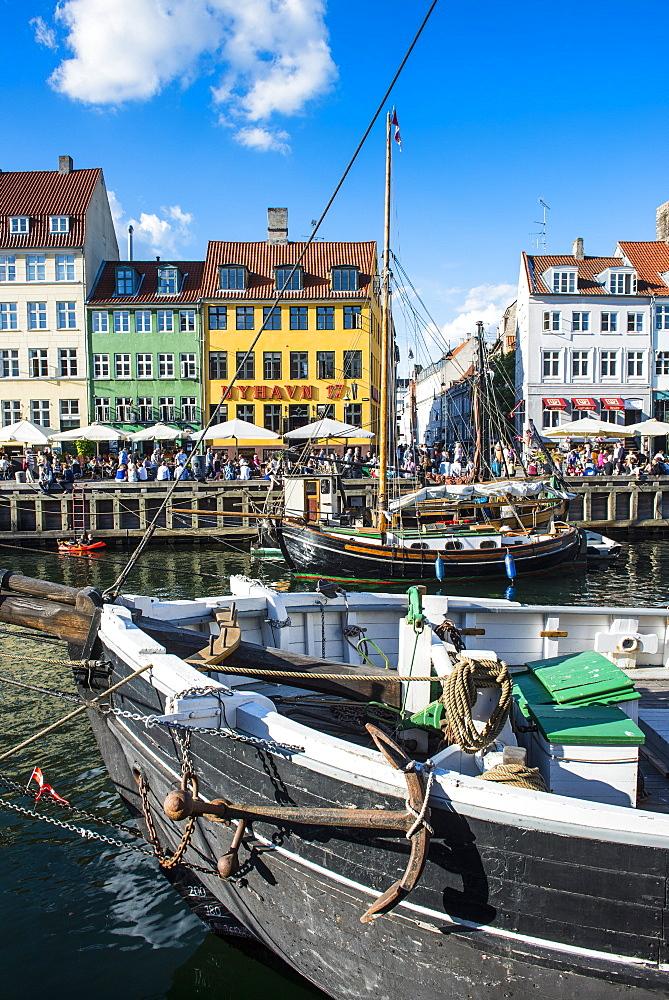 Fishing boats in Nyhavn, 17th century waterfront, Copenhagen, Denmark, Scandinavia, Europe