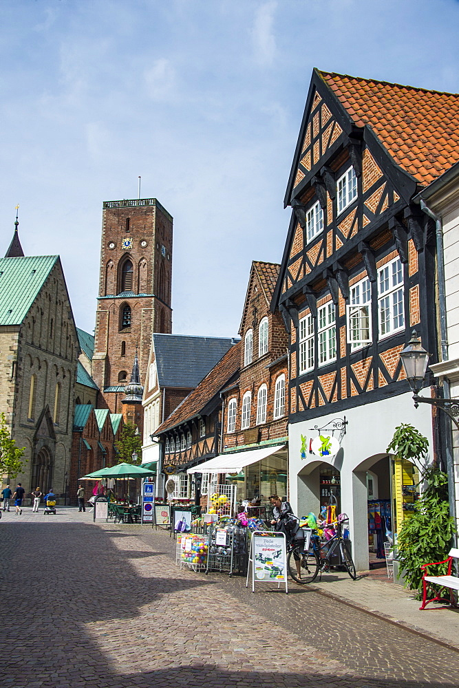 Pedestrian zone with the historic houses in Ribe, Denmark's oldest surviving city, Jutland, Denmark, Scandinavia, Europe