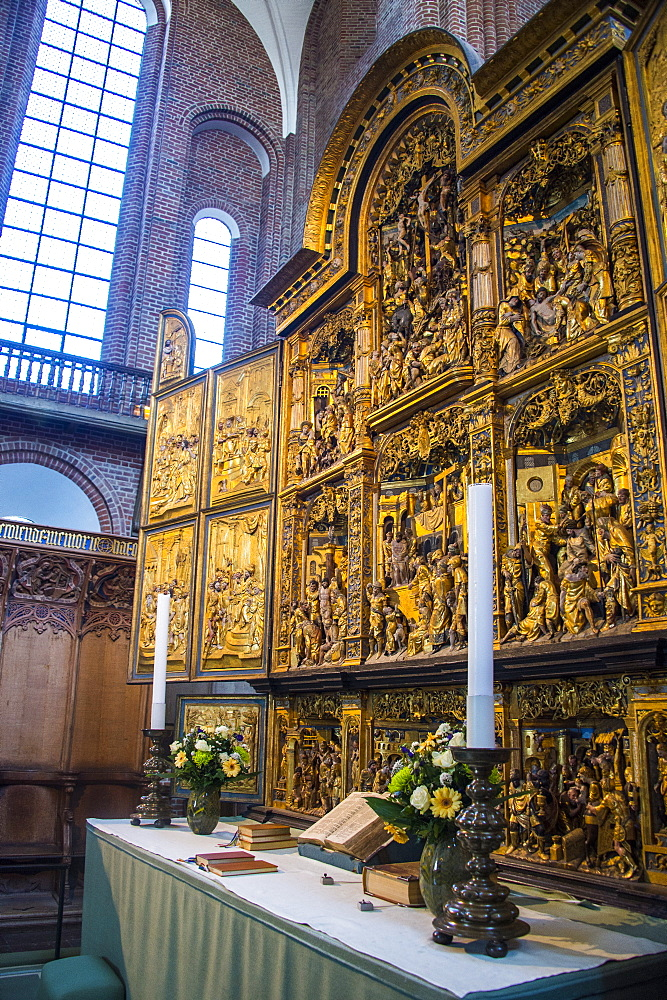 Golden altar in the Cathedral of Roskilde, UNESCO World Heritage Site, Roskilde, Denmark, Scandinavia, Europe