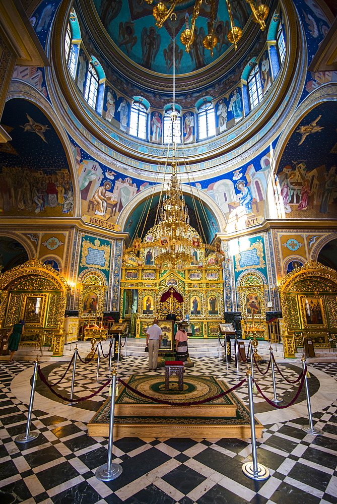 The ostentatious interior of the Nativitiy Cathedral, Chisinau, Moldova, Europe