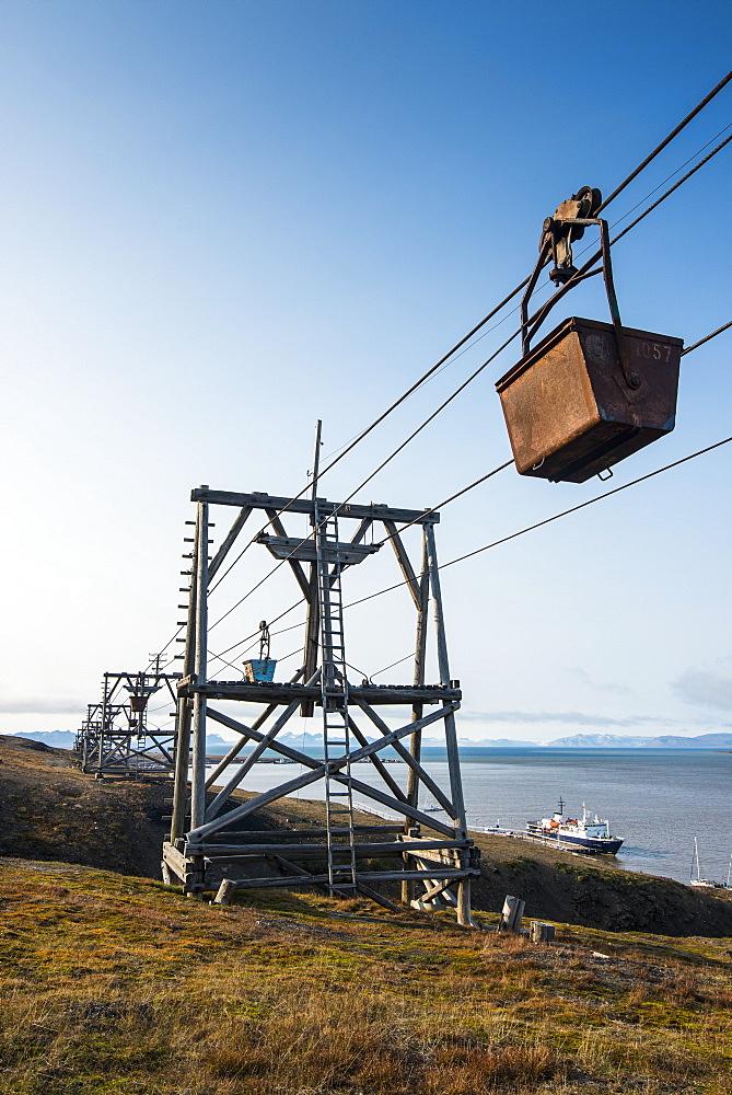 Old coal trolleys in Longyearbyen, Svalbard, Arctic, Norway, Scandinavia, Europe