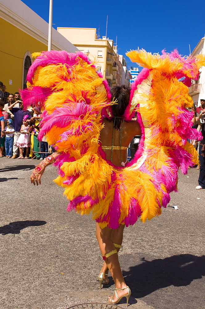 Colourfully costumed woman during Carnival, Mindelo, Cape Verde Islands, Africa