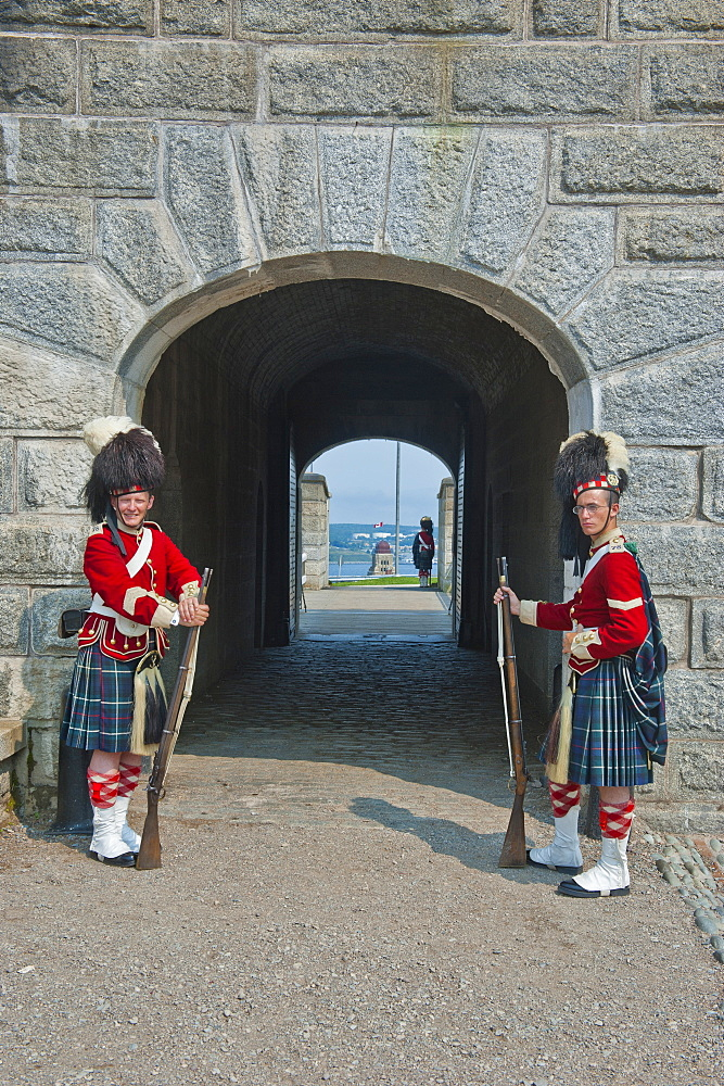 Traditional dressed guards in Fort George, Citadel Hill, a National Historic Site, Halifax, Nova Scotia, Canada, North America