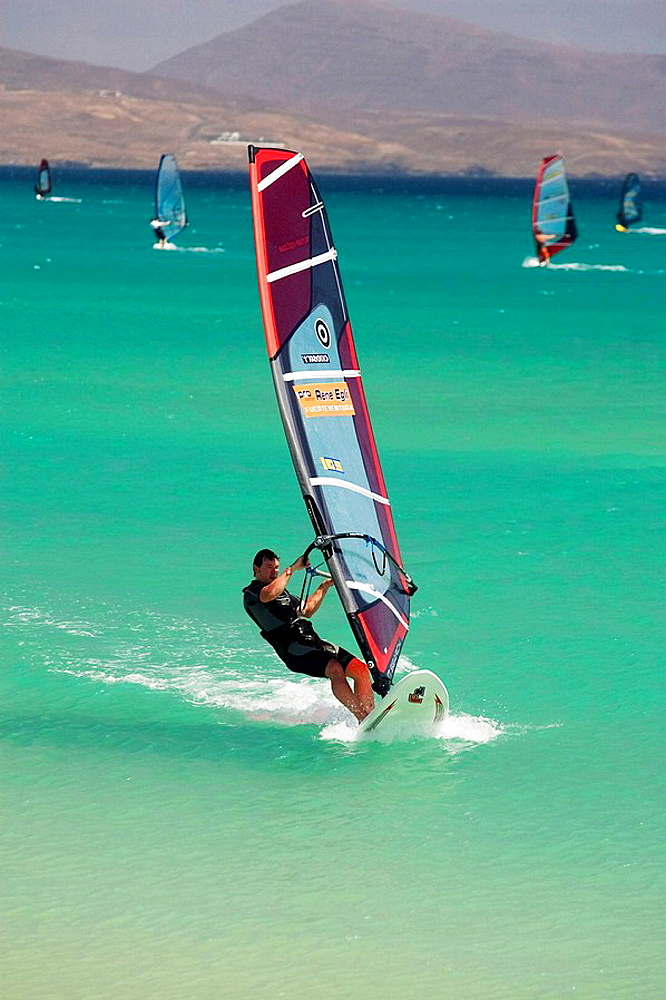 Windsurfers, Fuerteventura, Canary Islands, Spain - 817-101729