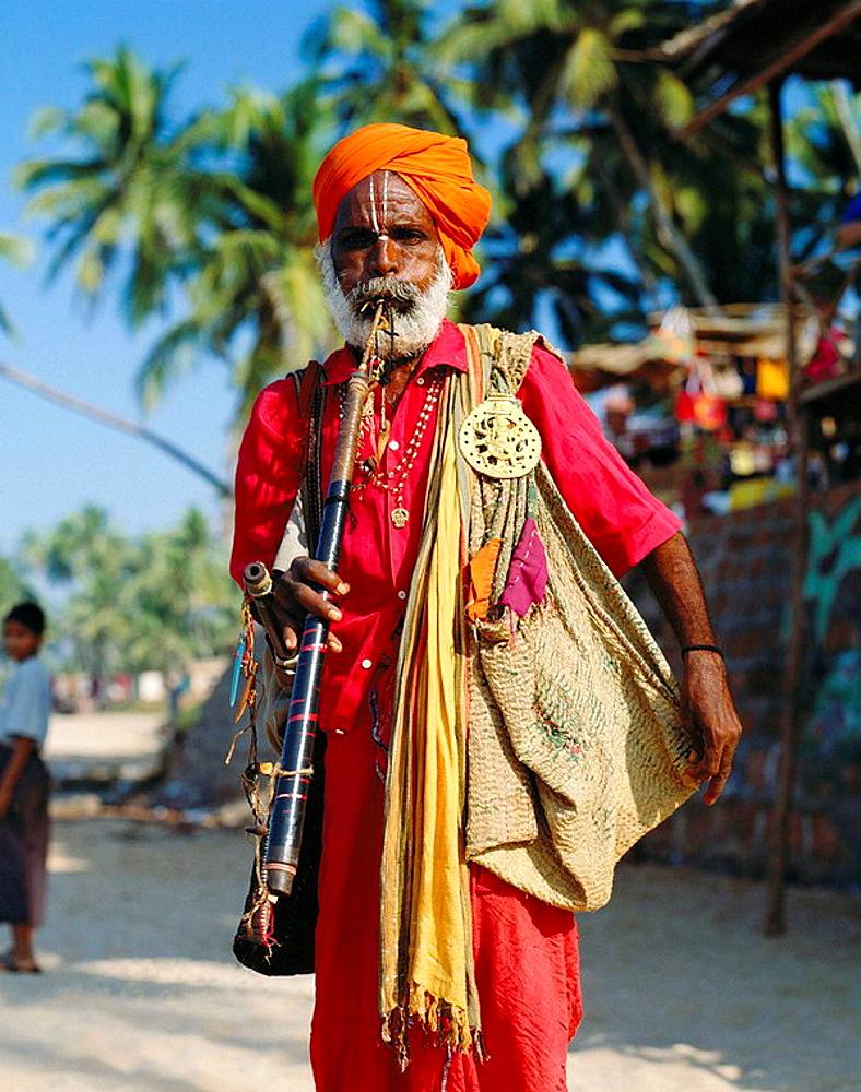 Musician at Anjuna Market, Goa, India