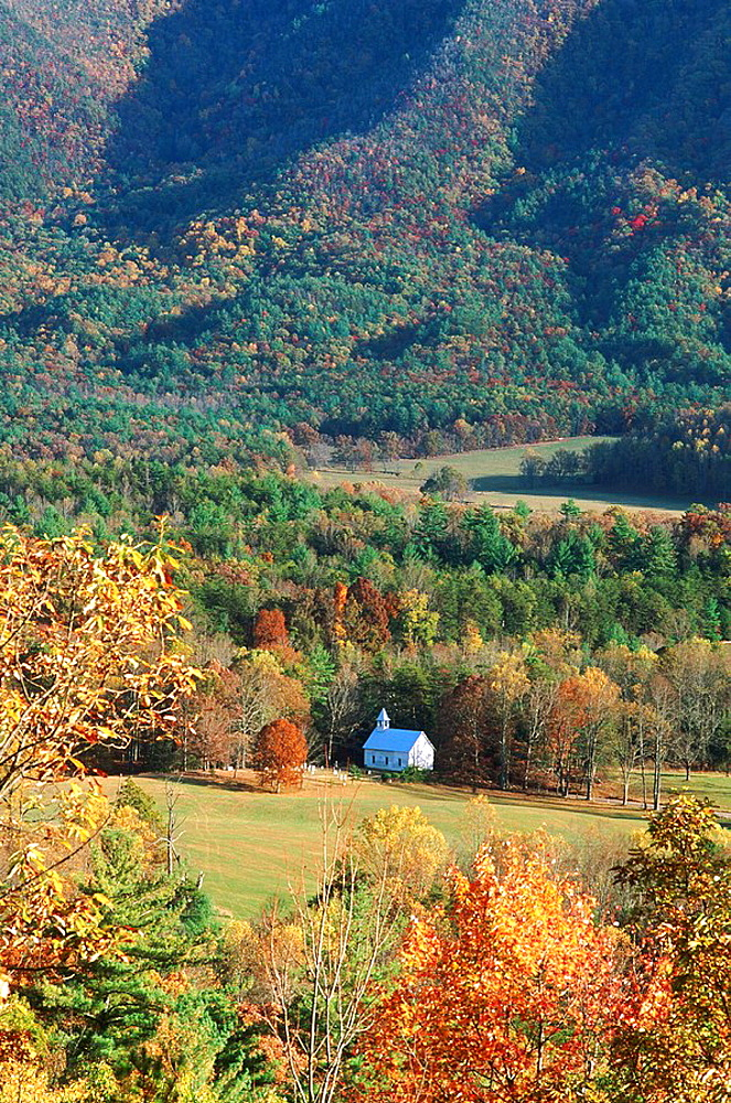 Methodist church, Cades Cove in fall, Great Smoky Mountains National Park, Tennessee, USA