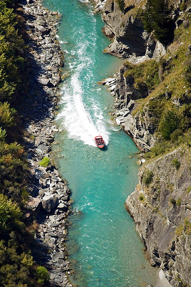 New Zealand, South Island, Shotover River, near Queenstown, Shotover Jetboat _ aerial
