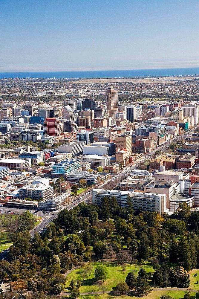 Botanic Gardens and CBD, Adelaide, South Australia, Australia - aerial