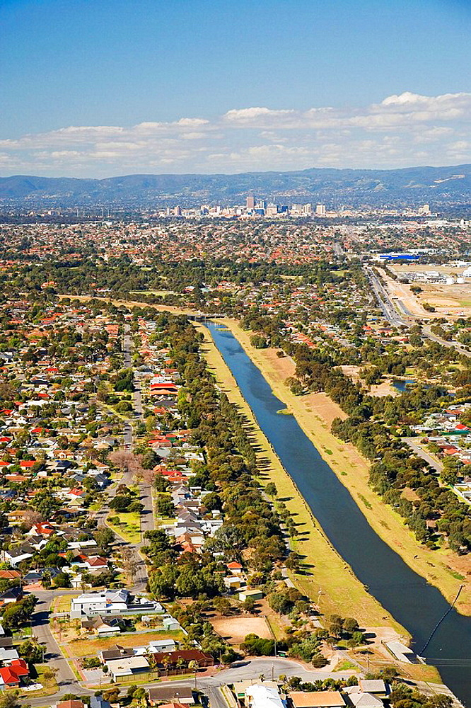 Fulham and River Torrens, Adelaide, South Australia, Australia - aerial