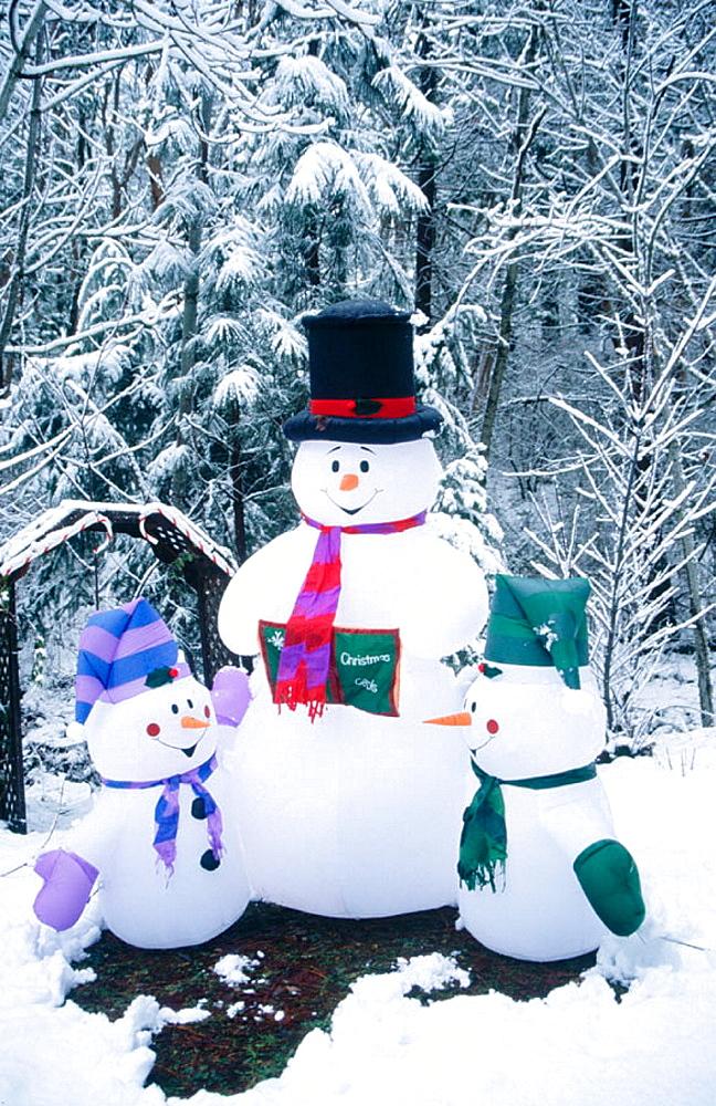 Christmas holyday season, Inflatable snowman, Ashland, Oregon, USA