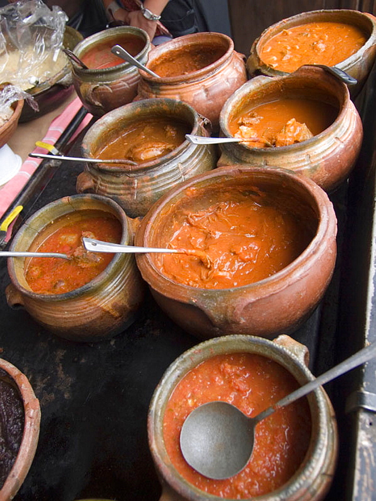 Food, sauces and soups in a restraurant in Antigua, Guatemala