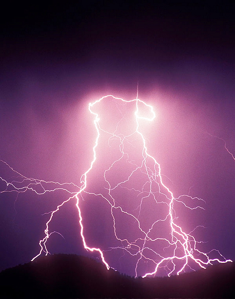 Evening Lightning storm over the mountains