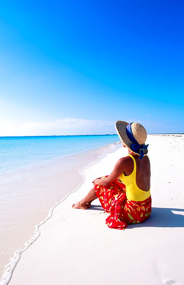 Woman on tropical beach, Cayo Largo, Cuba