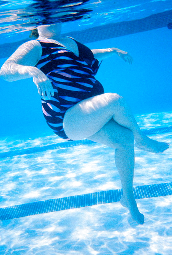 Underwater view of large woman, in sitting posture - 817-1142