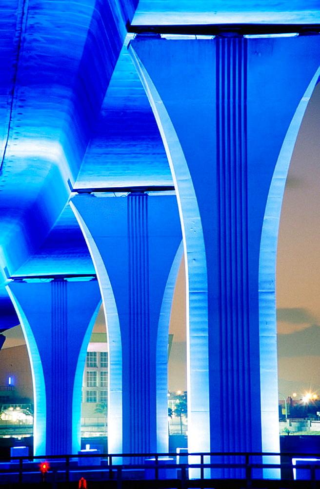 Columns in blue light at dusk, Port Boulevard Bridge, Miami, Florida, USA - 817-11426