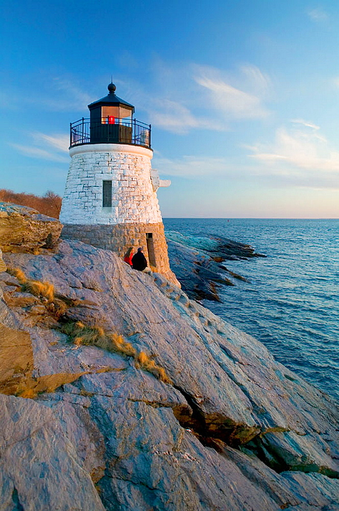 Castle Hill lighthouse, Narragansett Bay, Newport, Rhode Island, USA