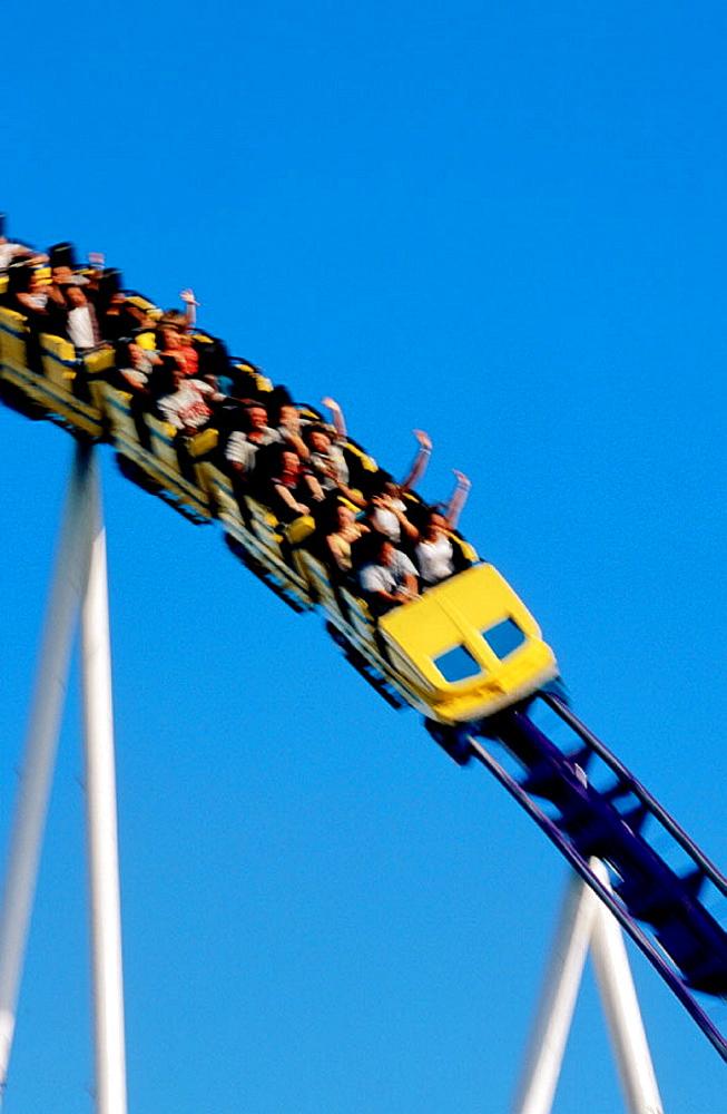 People on rollercoaster, Florida, USA - 817-12189