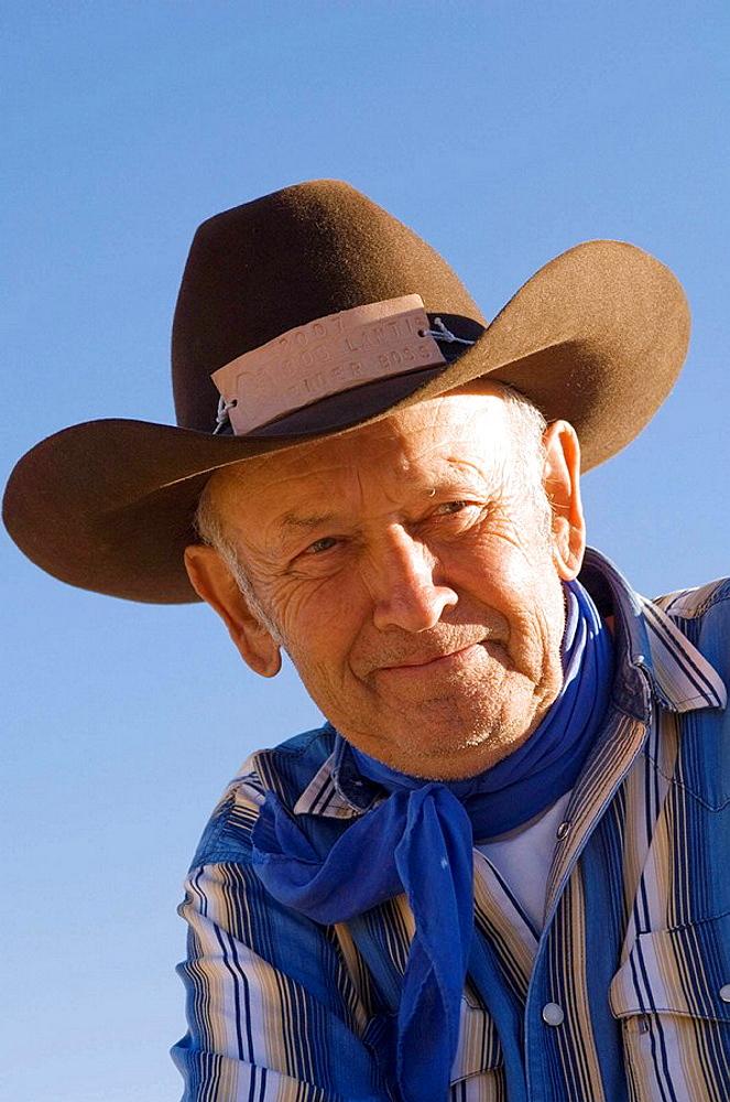 Cowboy rider boss Bob Lantis at Bison Roundup, Custer State Park, Black Hills, South Dakota, USA