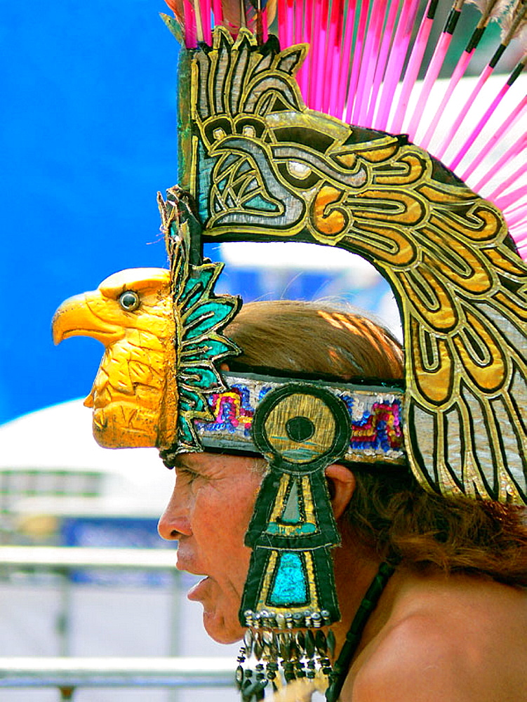 Aztec dancer at the Zocalo, Mexico City, Mexico - 817-126012