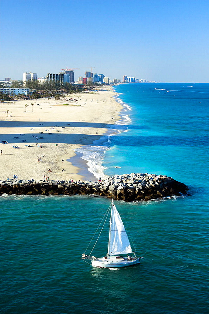 Fort Lauderdale beach with sailboat, Florida, USA