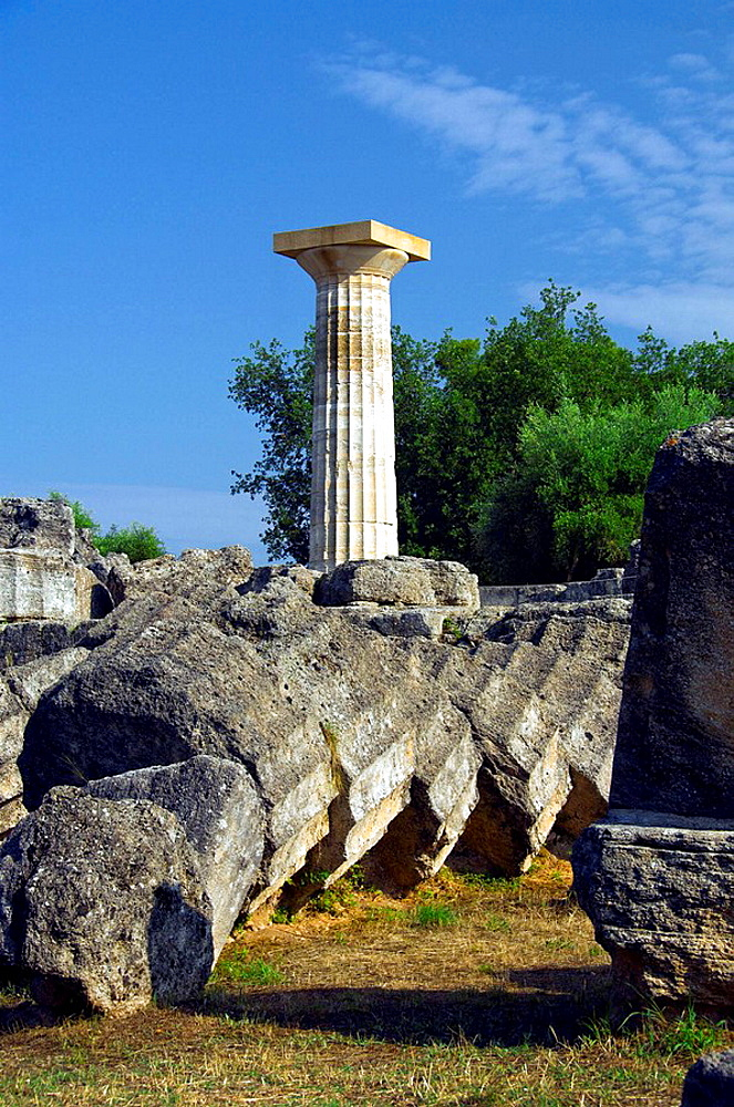 A remaining column at the Temple of Zeus at ancient Olympia, Greece