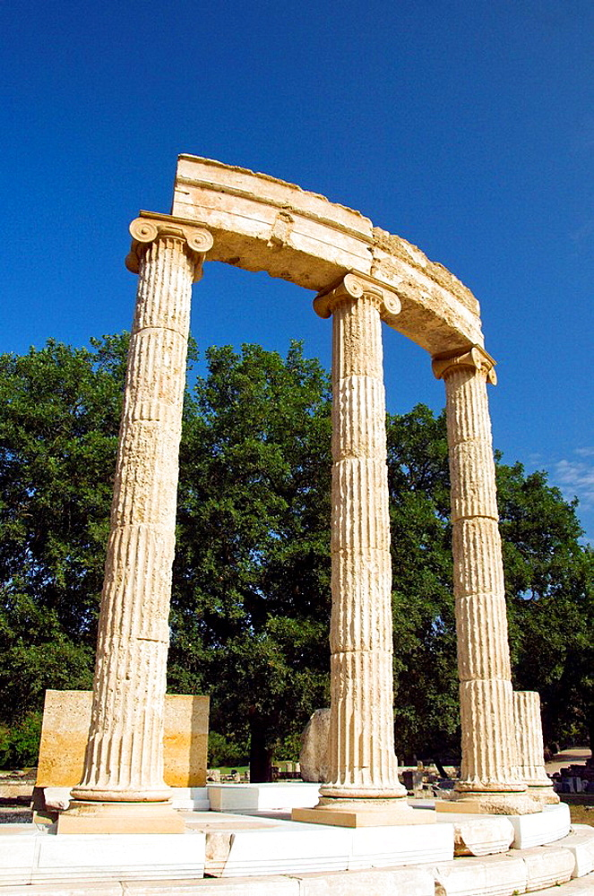 The remains of the Philippeion columns at ancient Olympia, Greece