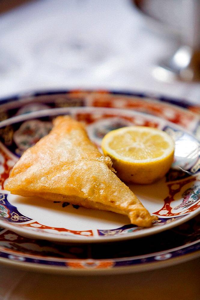 Brik, traditional Tunisian food served at Dar el Jeld restaurant, considered by many as Tunis finest restaurant, Tunis, Tunisia