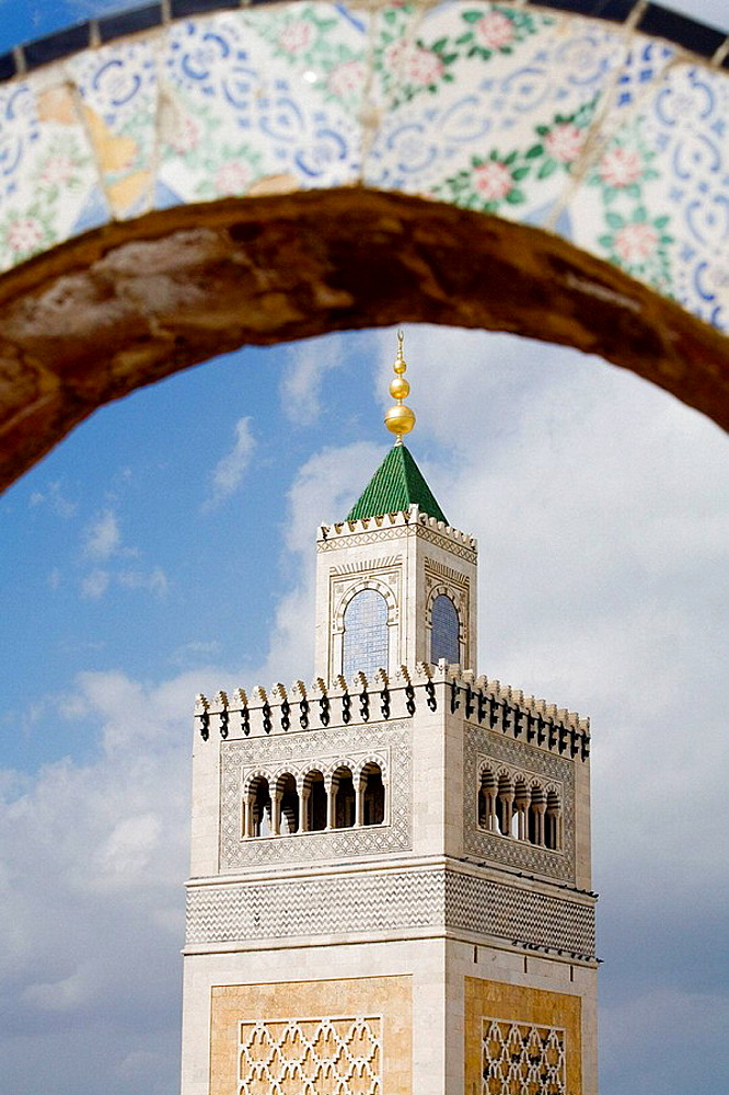 Zitouna mosque minaret in the Medina, Tunis, Tunisia
