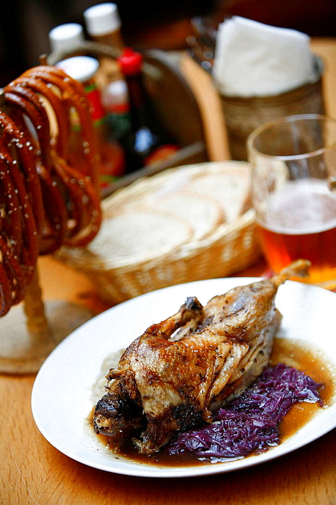 Roasted duck with red cabbage, a traditional Czech food Prague, Czech Republic