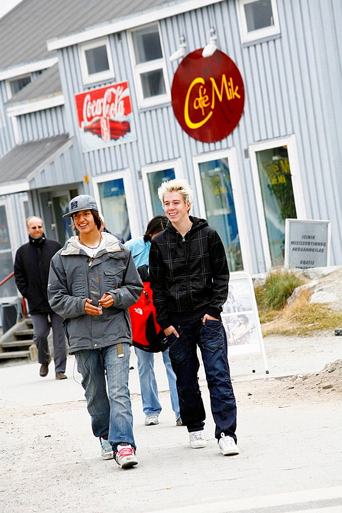 Street scene in the city centre Nuuk, Greenalnd