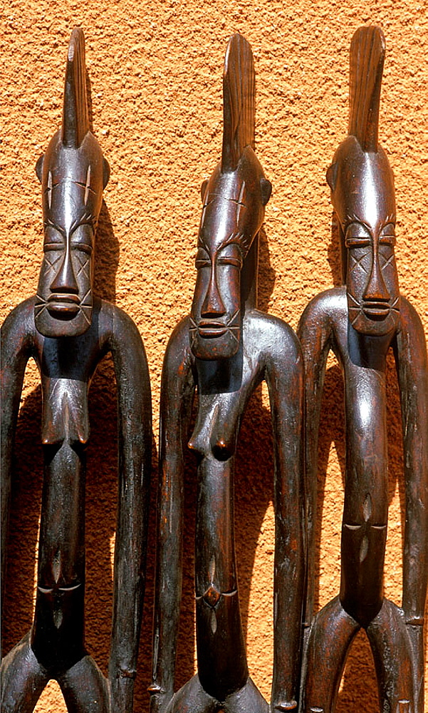 Wooden statues at handicraft market, Ouagadougou, Burkina Faso, West Africa