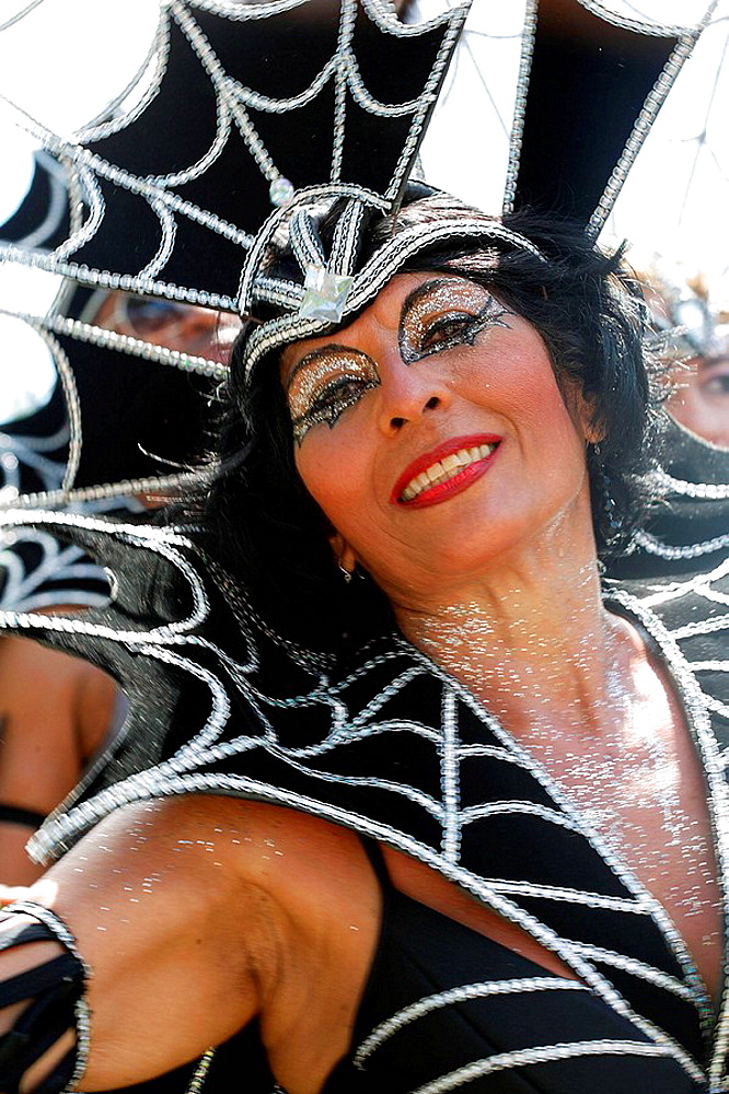 Women wearing bat like Carnival costume, Trinidad Carnival, Queens Park Savannah, Port of Spain, Island of Trinidad, Republic of Trinidad and Tobago