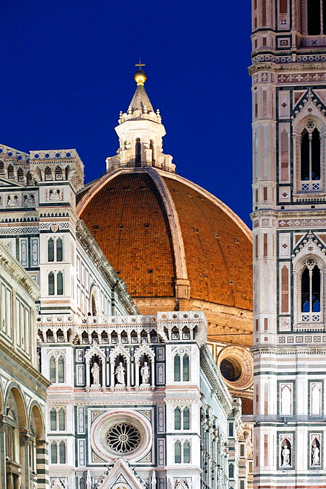 Duomo, Cathedral Santa Maria del Fiore and Campanile di Giotto with blue sky during the day, Florence (Firenze), Tuscany, Italy, Southern Europe