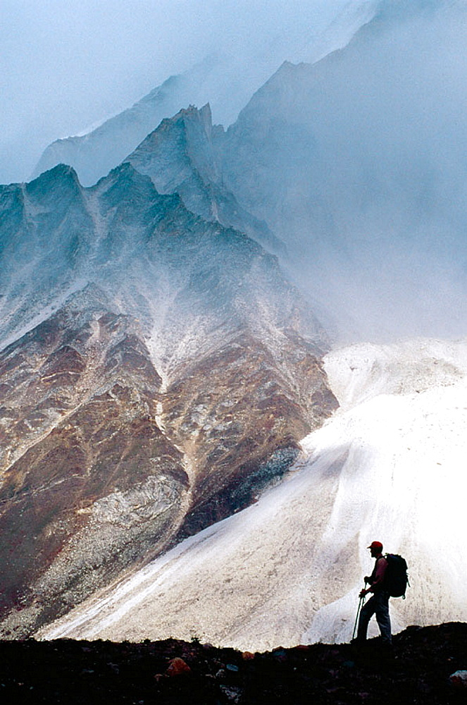 Mountain climber in a glacier, Gangotri, Himalaya, Garhwal, Uttar Pradesh, India