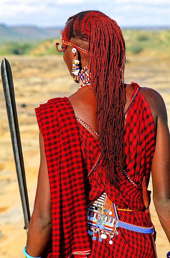 Masaai in Galdessa safari camp, beside Galana river bank, Tsavo East National Park, Rift Valley, Kenya