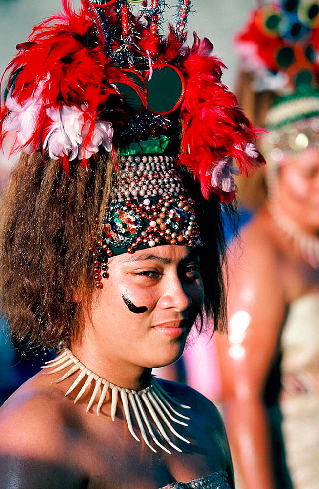 Western Samoa, Poeple of Pacific dressed in traditional costume