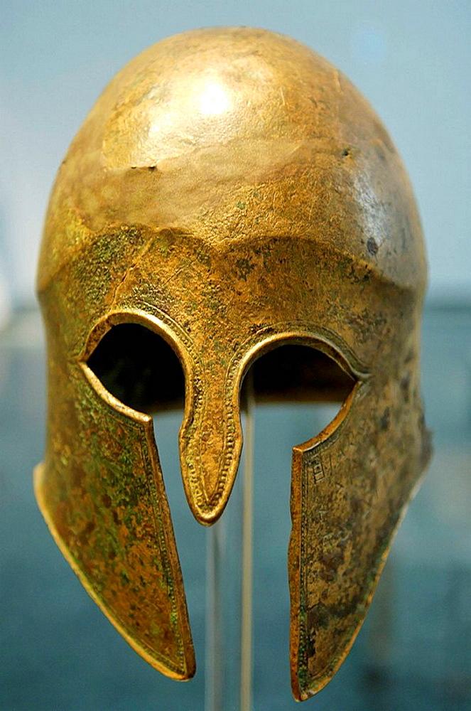 Bronze Corinthian helmet, Olympia Museum, Peloponnesus, Greece