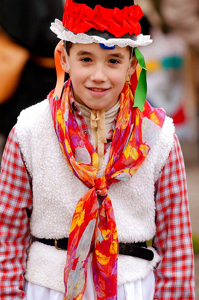 Boy in disguise, Carnival, Tolosa, Guipuzcoa, Basque Country, Spain