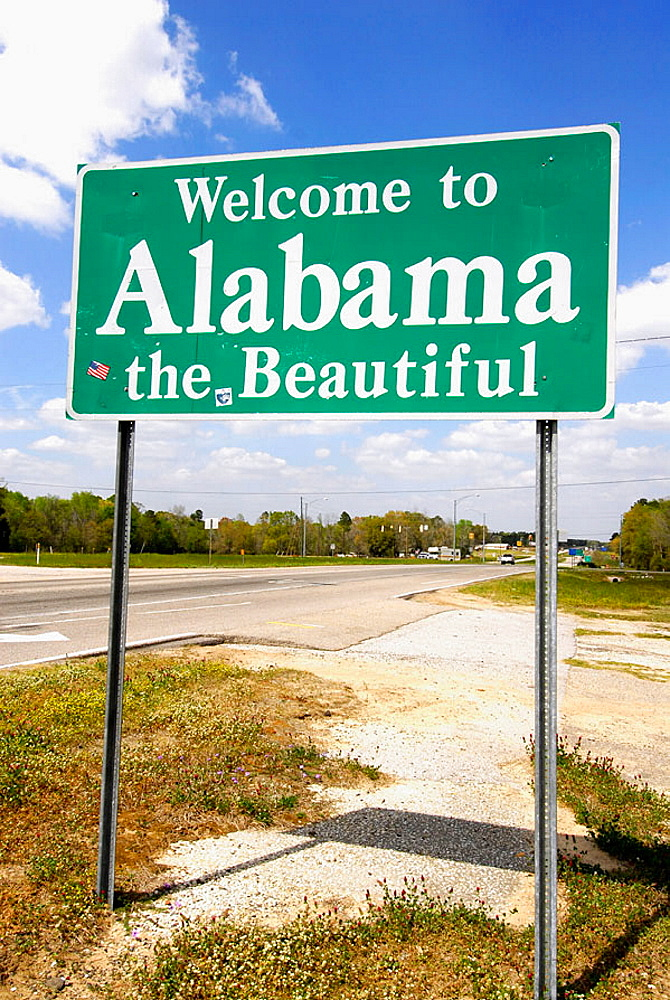 Welcome to Alabama the beautiful sign at the state line geeting visitors to the state of Alabama, USA