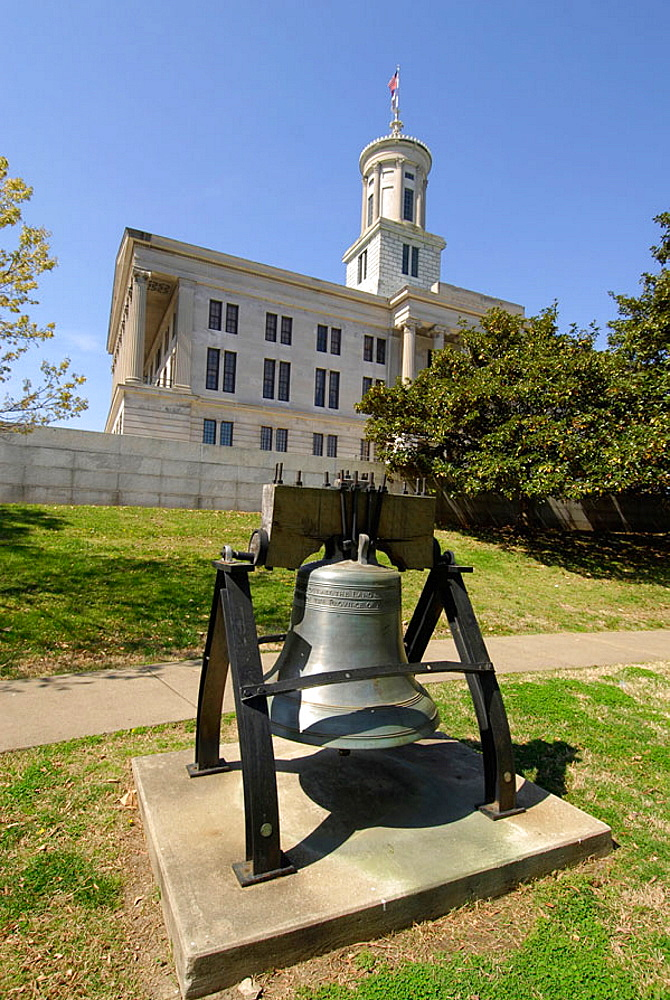 Replica of Liberty Bell at State Capitol and Surrounding Statues and Monuments Nashville Tennessee, USA