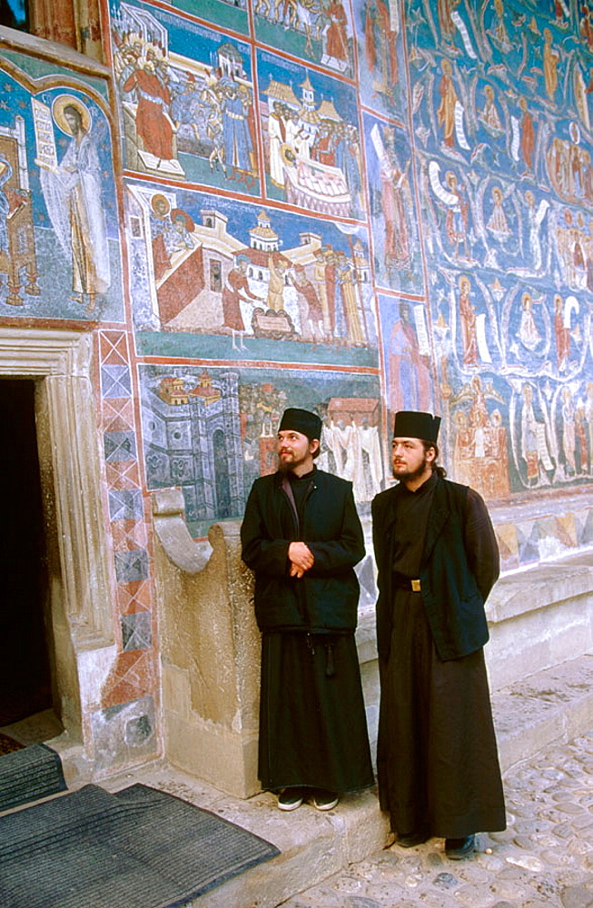 Orthodox monks, Voronet monastery, Bucovina, Romania.
