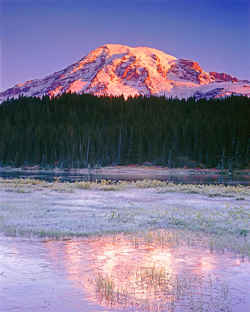 Daybreak on Mount Rainier from Reflection Lake, Mount Rainier National Park, Washington, USA