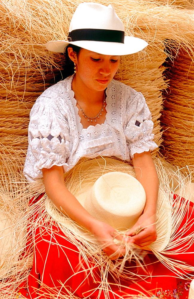 Weaving a panama hat, Cuenca, Azuay province, Ecuador