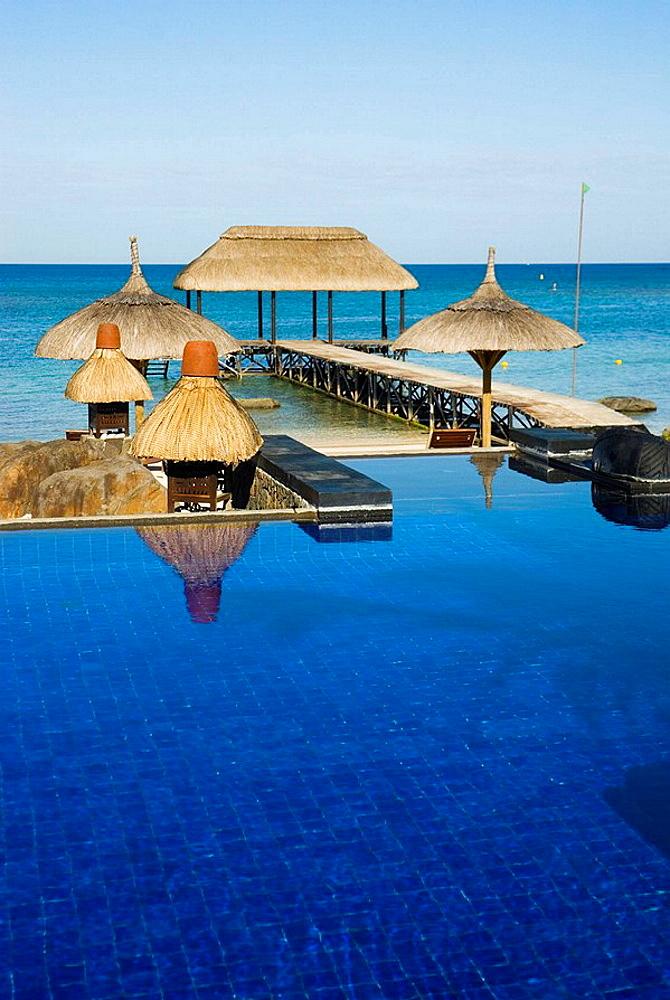 Swimming pool of the Oberoi hotel in Balaclava area, Mauritius