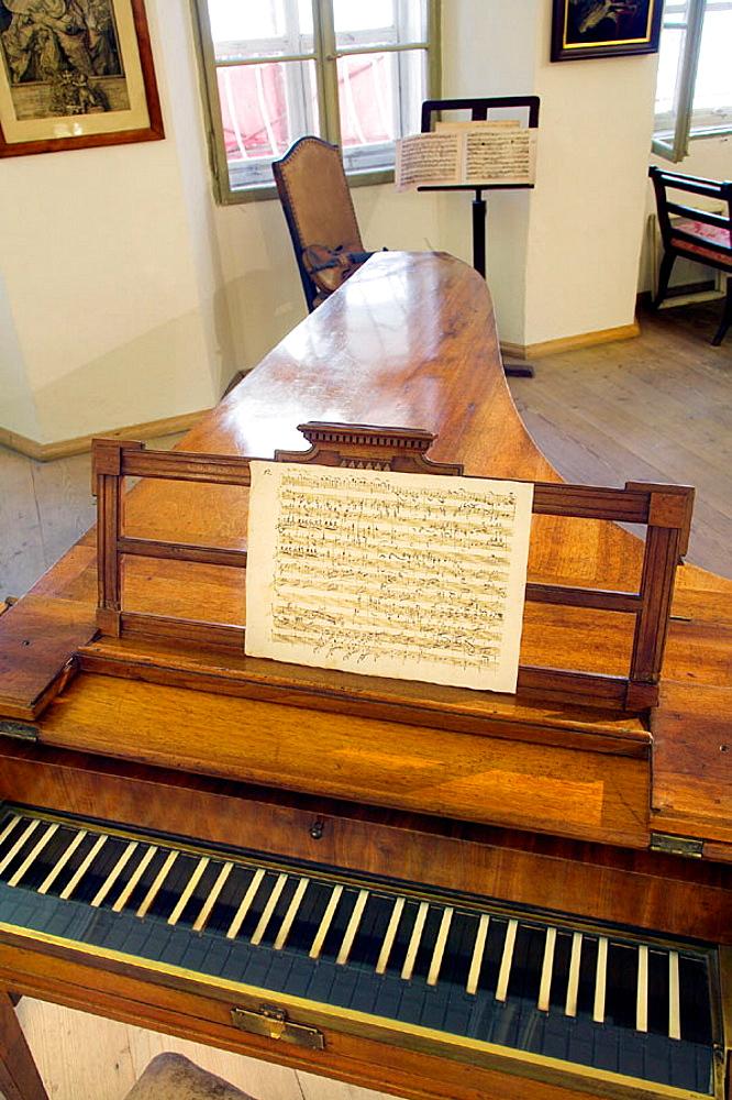 Mozart's piano (original piano by Anton Walter, 1780) in Mozart's birthplace, Salzburg, Austria